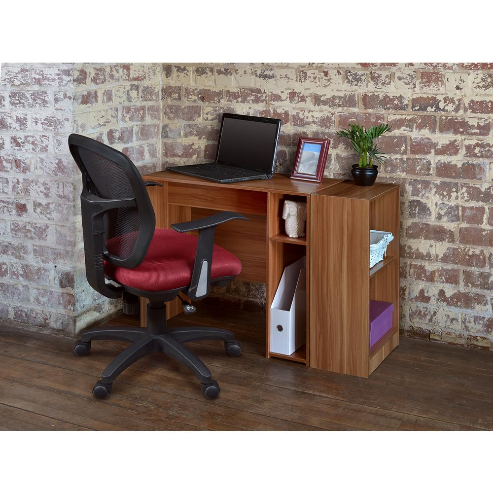 Niche Mod Warm Cherry Desk With Built-In Shelves-PDS3116WC