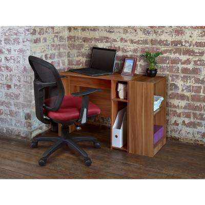 Mod Warm Cherry Desk with Built-In Shelves