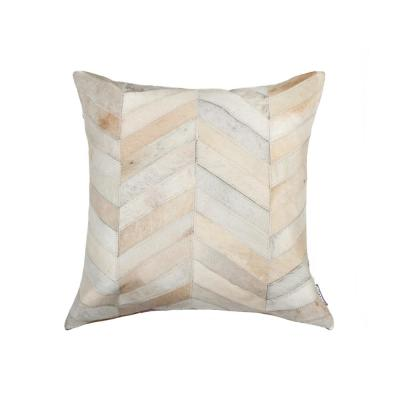 Torino Chevron Cowhide Natural Solid 18 in. x 18 in. Throw Pillow