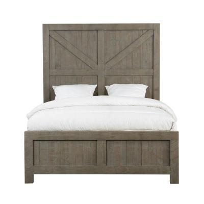 Austin Light Wood Rustic Grey Queen Panel Bed with Barn Door Headboard