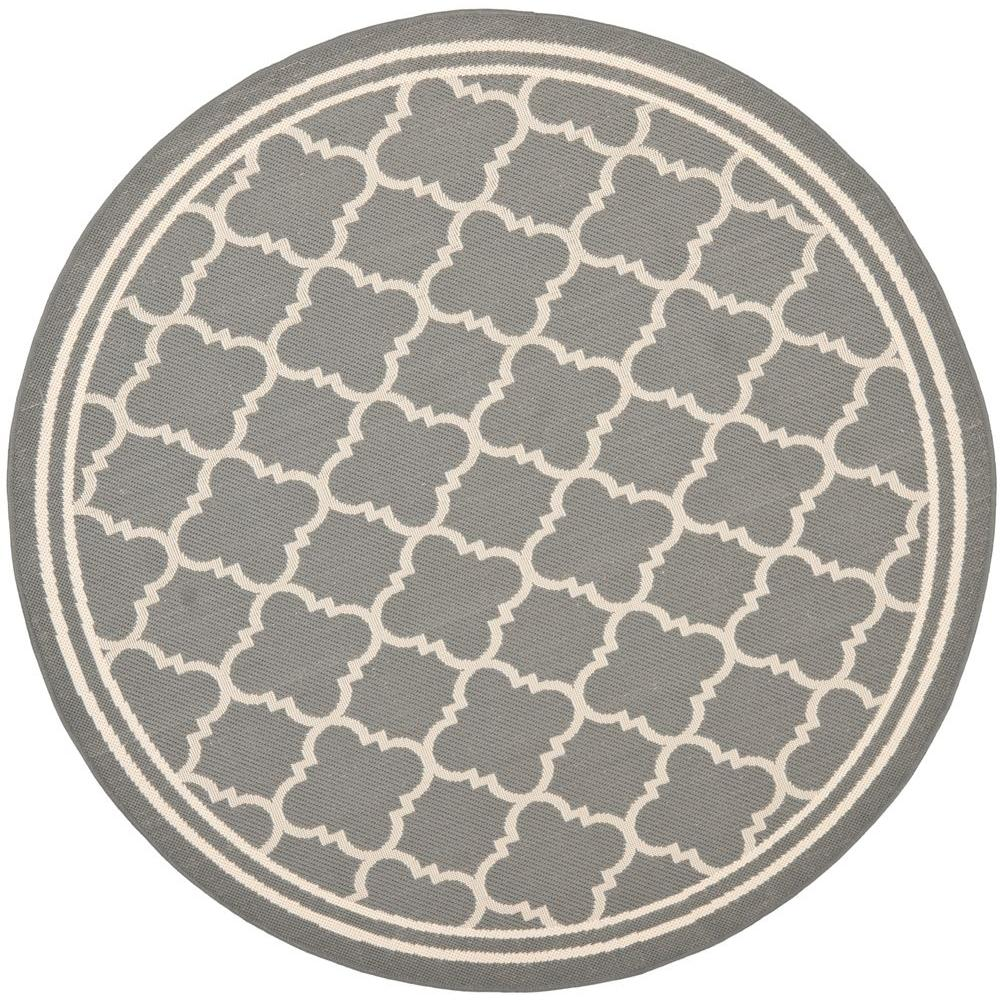 Safavieh Courtyard Anthracite/Beige 4 ft. x 4 ft. Indoor/Outdoor Round Area Rug