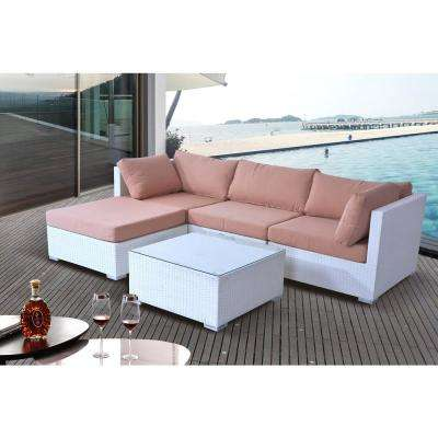 Savosa 5-Piece All-Weather White Wicker Patio Sectional Set with Beige Cushions
