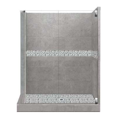 Del Mar Grand Hinged 32 in. x 36 in. x 80 in. Right-Hand Corner Shower Kit in Wet Cement and Chrome Hardware