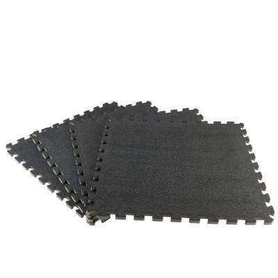 Black 25.4 in. x 25.4 in x 0.68 in. Shock Absorbing Gym Floor (4-Pack)