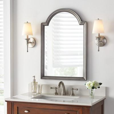 22 in. x 32 in. Framed Fog Free Arch Mirror in Pewter