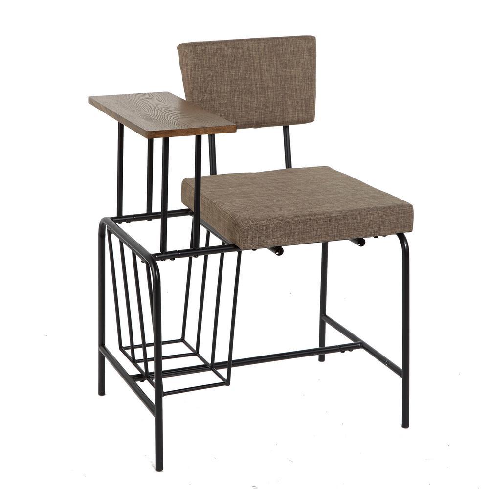 Mid Century Gray and Black Modern Gossip Chair