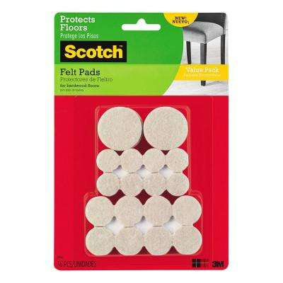 Multi Size Beige Round Surface Protection Felt Floor Pads Value Pack ((36-Pack)(Case of 24))