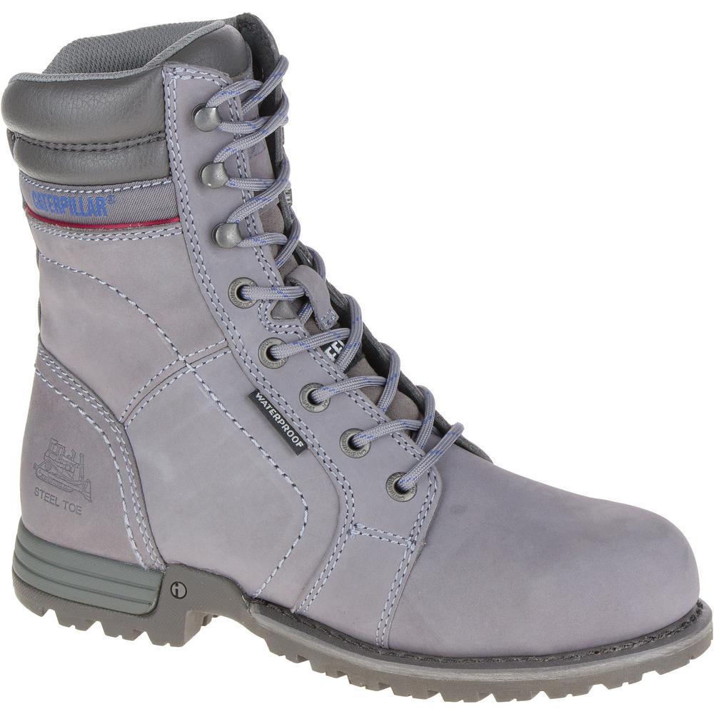 Echo Women's Size 7-1/2M Frost Grey Waterproof Steel Toe Work Boots