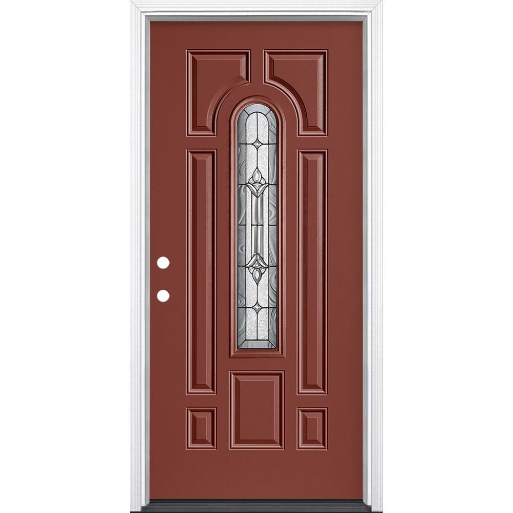 Masonite 36 in. x 80 in. Providence Center Arch Right-Hand Inswing Painted Steel Prehung Front Exterior Door with Brickmold