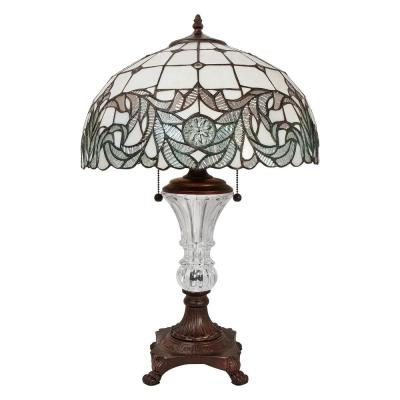 25 in. Tiffany Style White Shade Table Lamp