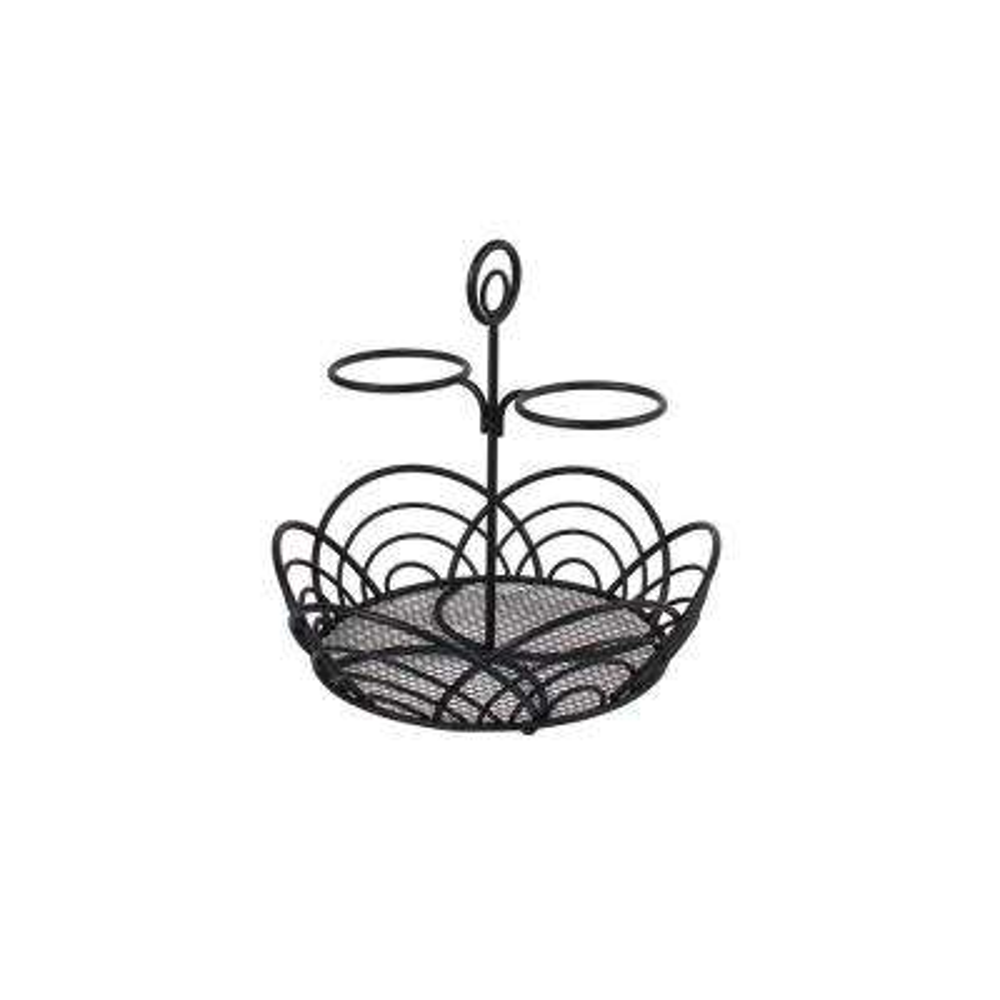 Flower 9.5 in. W x 9.75 in. D x 9.25 in. H Hair Care Countertop Basket in Black