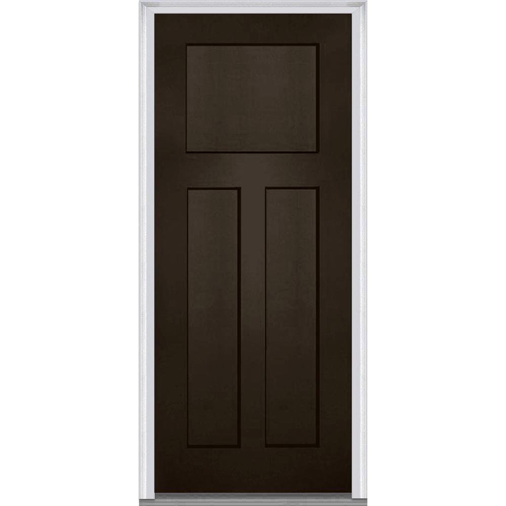 MMI Door 36 in. x 80 in. Right-Hand Inswing Craftsman 3-Panel Shaker Classic Painted Fiberglass Smooth Prehung Front Door