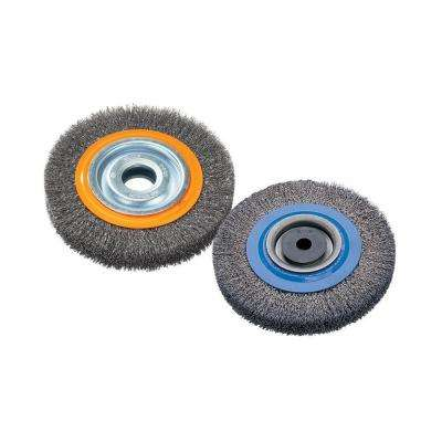 7 in. Bench Wheel Brush with Crimped Wires 1/2 in. to 1-1/4 in. Arbor