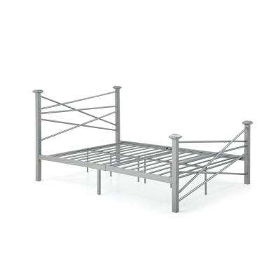 Complete Metal Silver Twin Bed with Headboard, Footboard, Slats and Rails