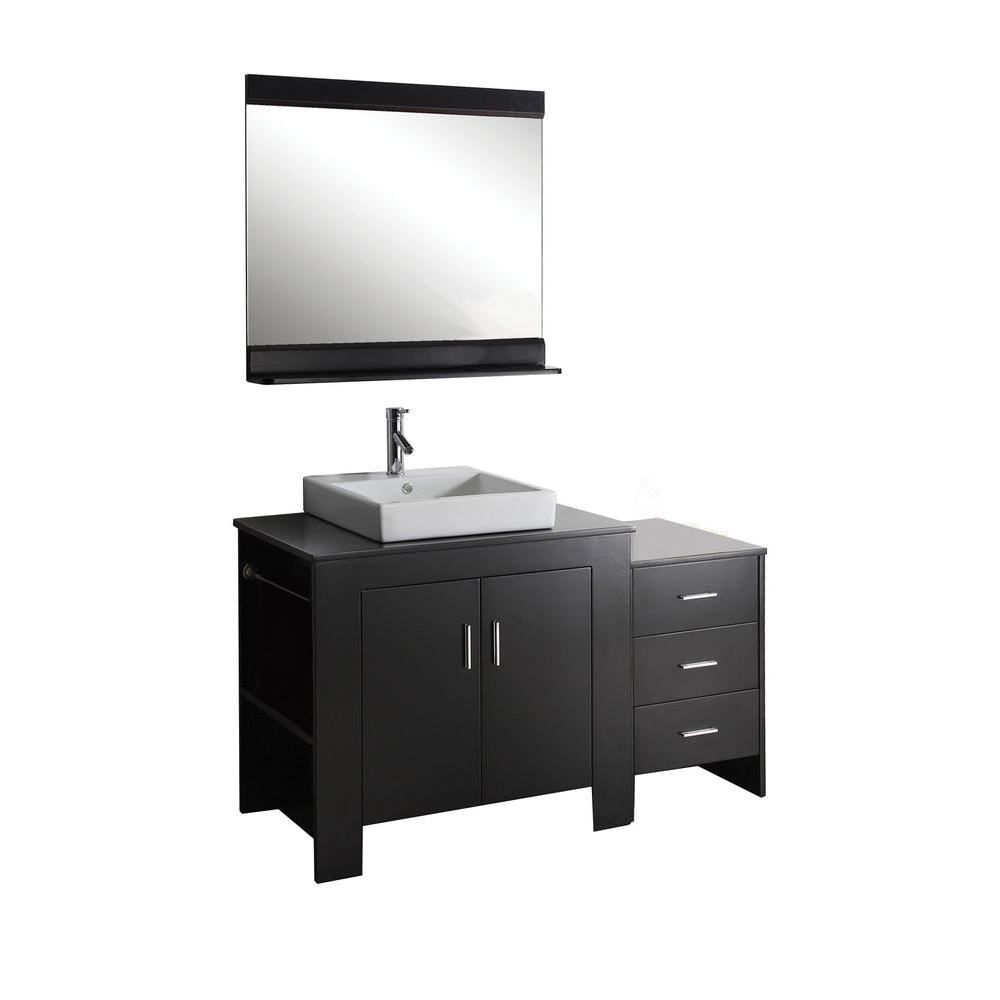 Virtu USA Tavian 54 in. Single Basin Vanity in Espresso with Solid Oak Vanity Top and Mirror-DISCONTINUED