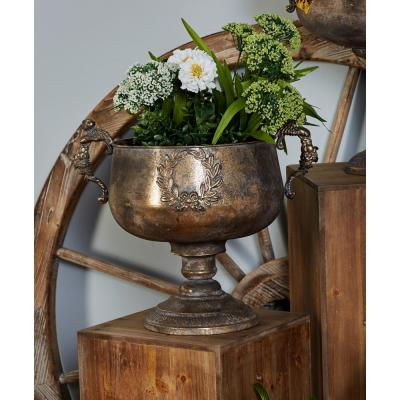 14 in. x 11 in. Tarnished Brass Iron Chalice Urn Planter