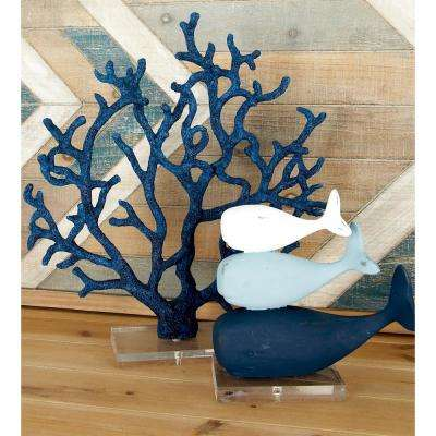 Coral Polystone Sculpture with Multiple Fanned Out Branches in Blue