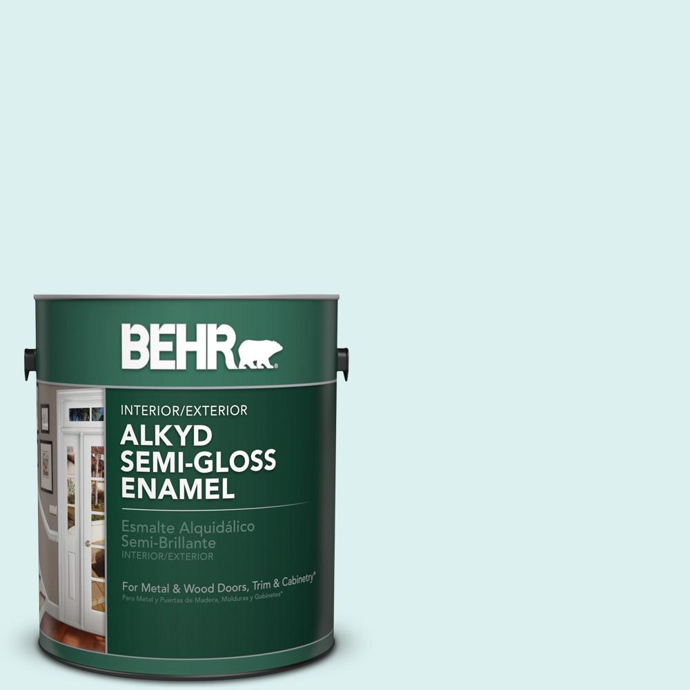 1 gal. #500C-2 Aqua Pura Semi-Gloss Enamel Alkyd Interior/Exterior Paint