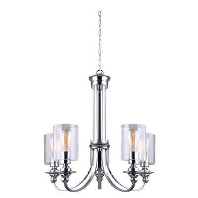 York 5-Light Chrome Chandelier with Clear Glass Shade