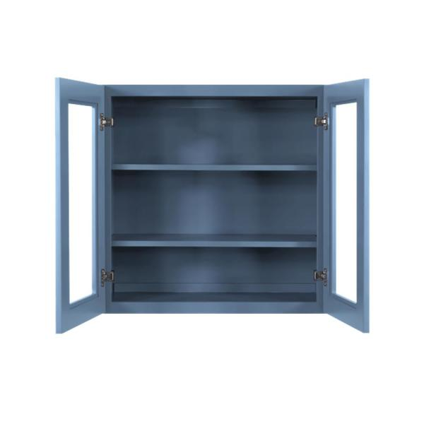 Lifeart Cabinetry Lancaster Blue Plywood Shaker Stock Assembled Wall Glass Door Kitchen Cabinet 36 In W X 12 In D X 30 In H Alb Wmd3630 The Home Depot