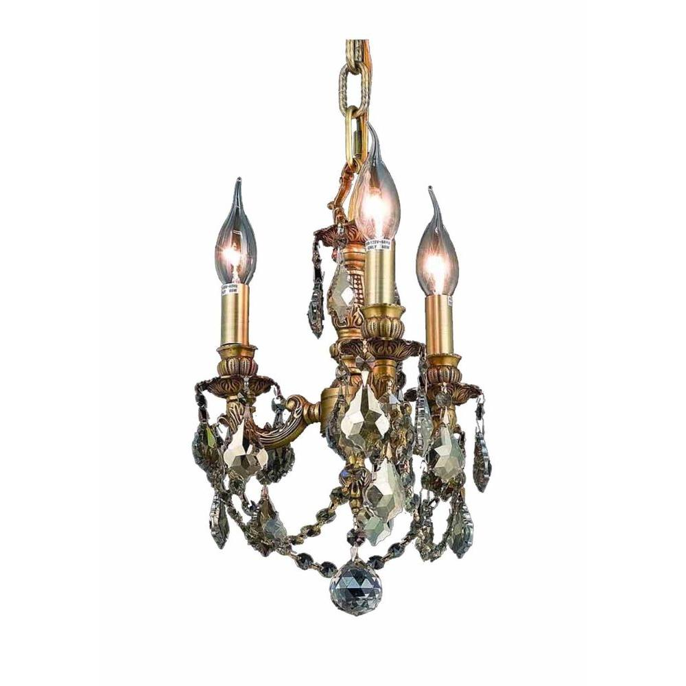 3-Light French Gold Chandelier with Golden Teak (Smoky) Crystal