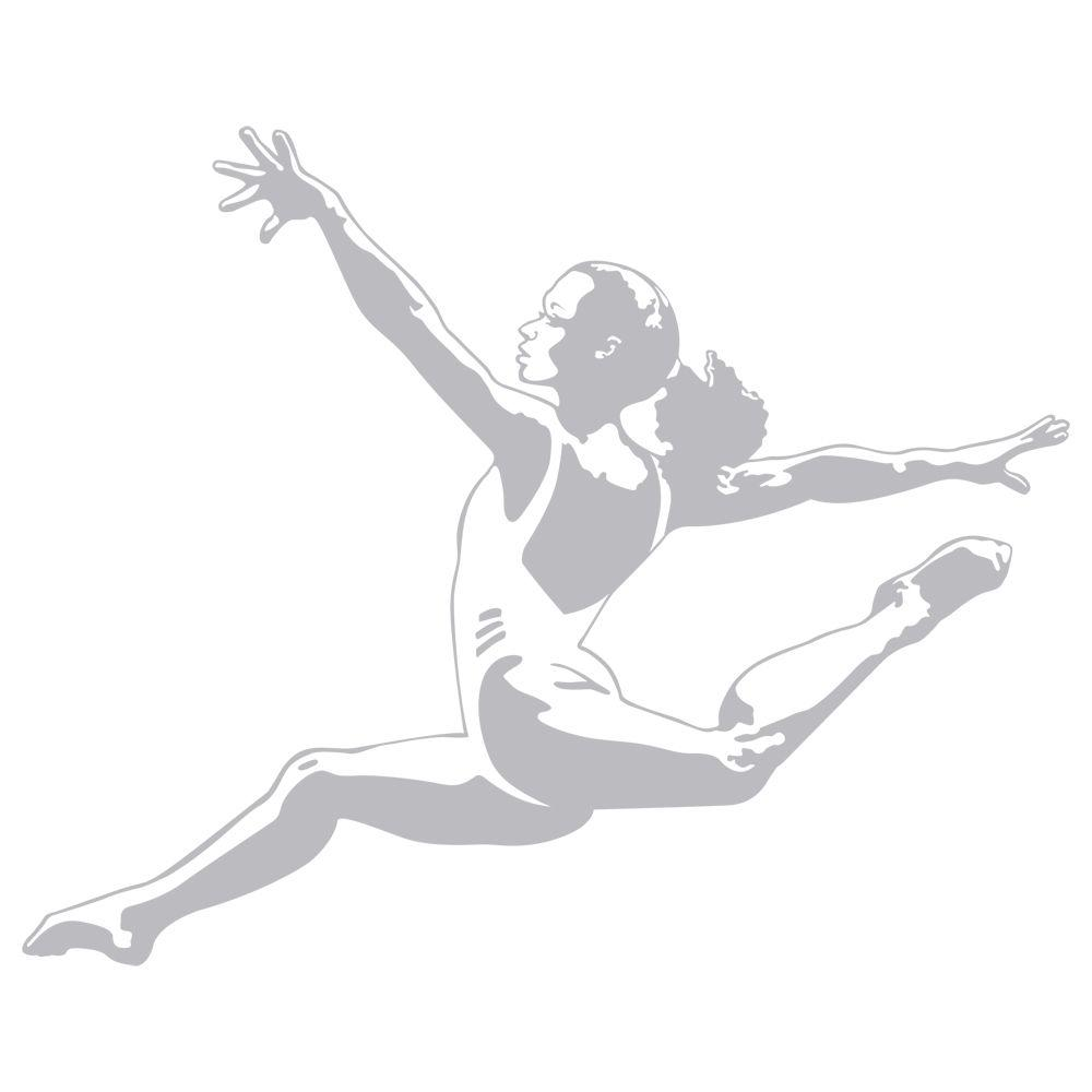 Sudden Shadows 33 in. x 32 in. Gymnast Wall Decal