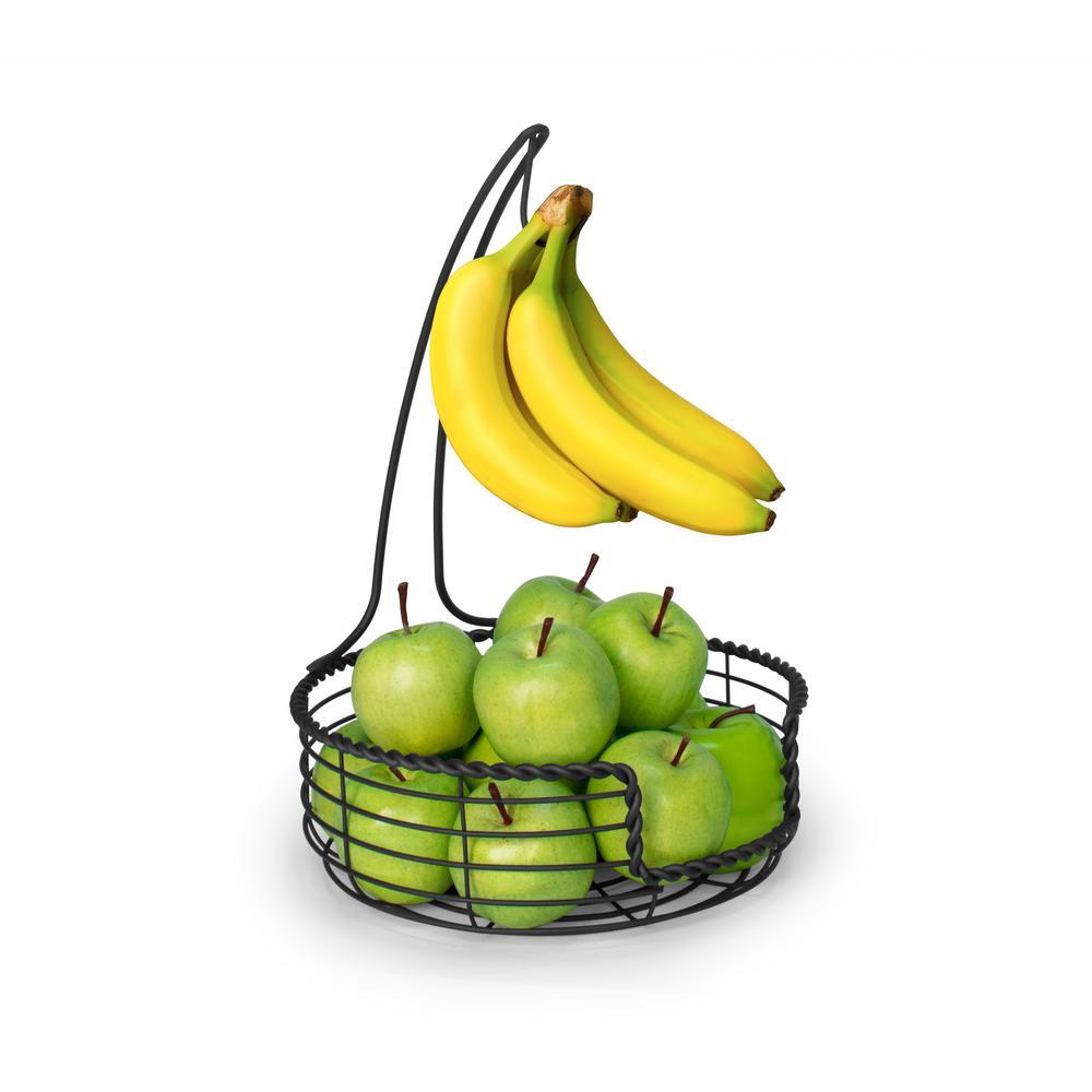 Everly Black Decorative Banana Hanger Display Stand Fruit Tree Bowl Basket Produce Holder Organizer