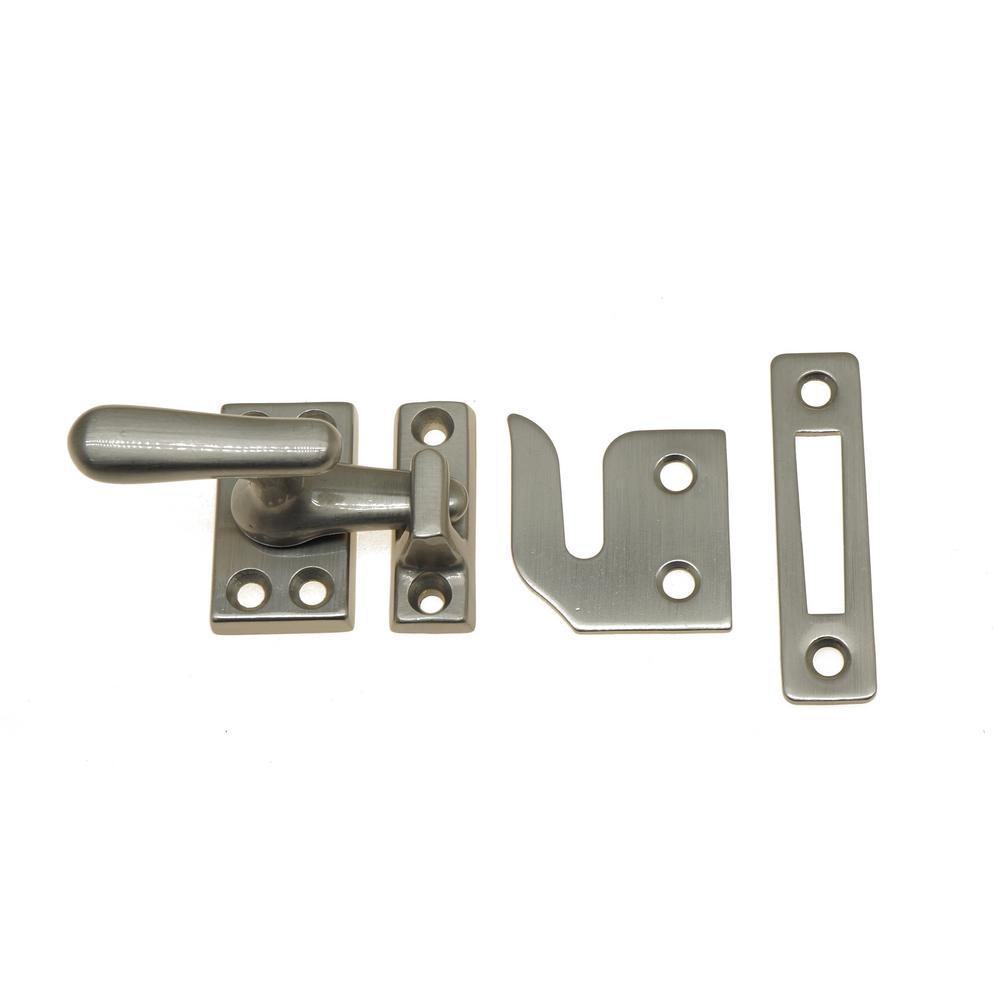 Small Solid Brass Casement Fastener in Satin Nickel