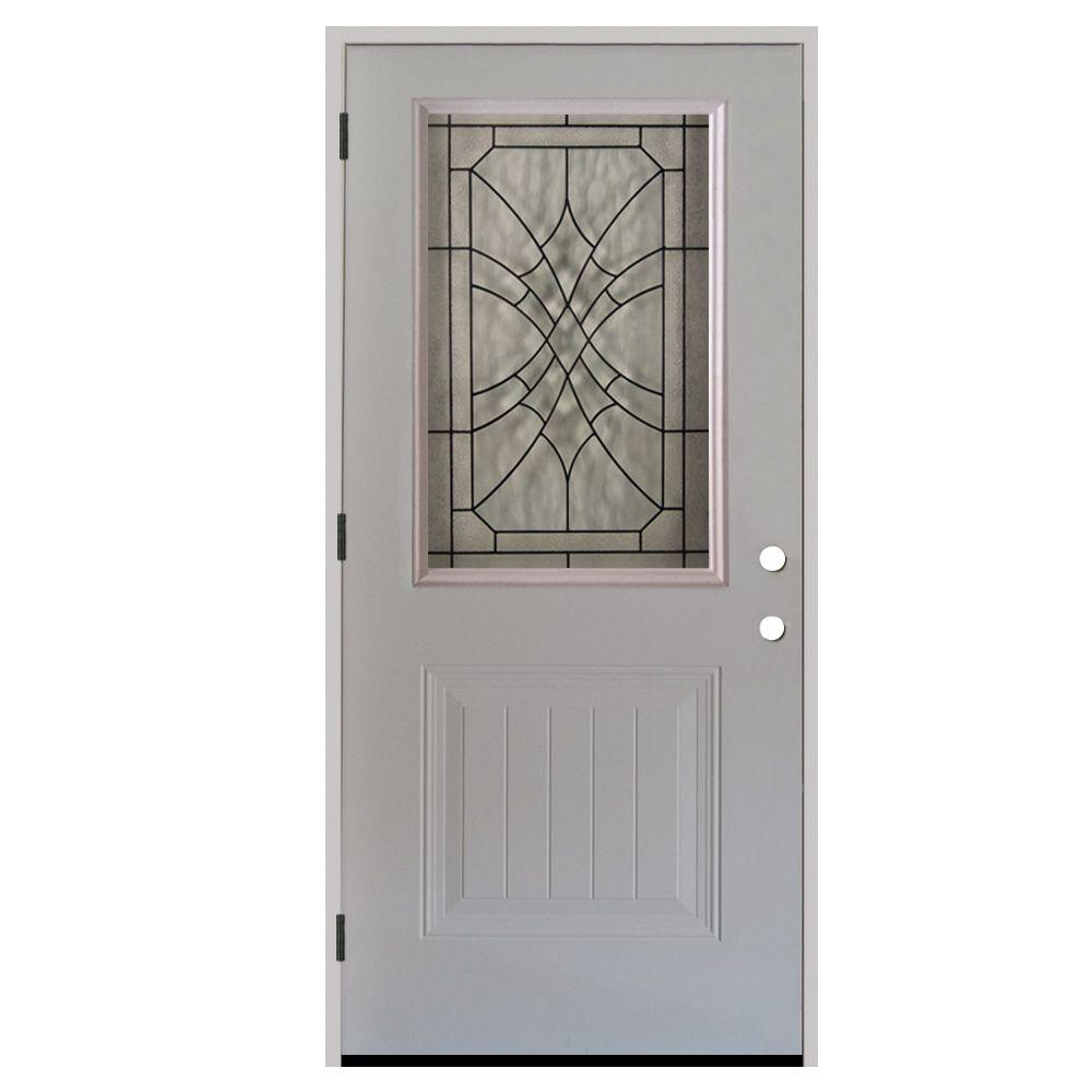 Steves & Sons 36 in. x 80 in. Webville 1/2 Lite Plank Panel Primed White Steel Prehung Front Door