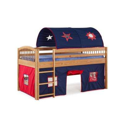 Addison Junior Loft Bed Cinnamon Finish with Blue Tent and Playhouse with Red Trim