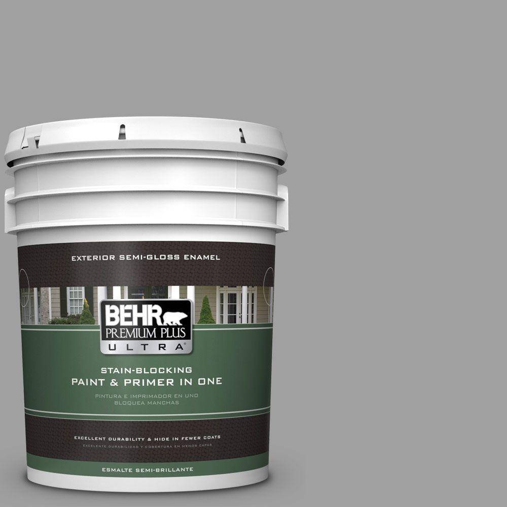 BEHR Premium Plus Ultra 5-gal. #T11-1 Grayve Yard Semi-Gloss Enamel Exterior Paint