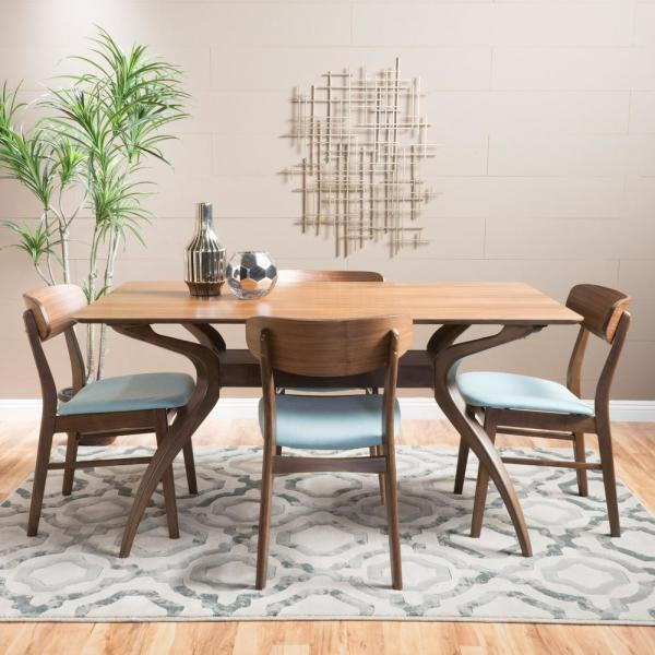 Lucious 5-Piece Mint and Natural Walnut Dining Set