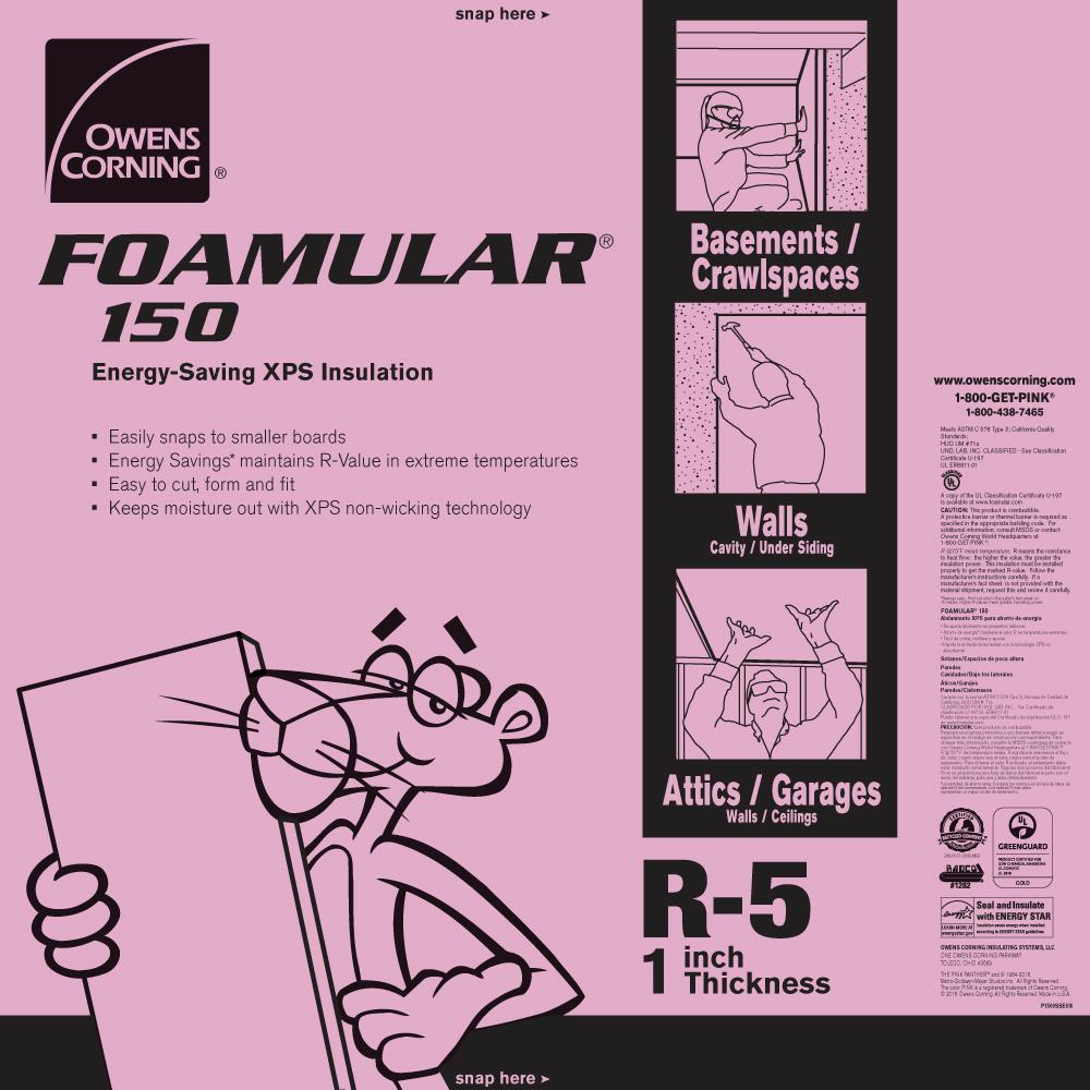 Owens Corning FOAMULAR 150 1 in  x 4 ft  x 8 ft  R-5 Scored Square Edge  Rigid Foam Board Insulation Sheathing