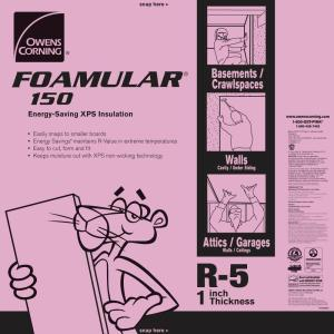FOAMULAR 150 1 in. x 4 ft. x 8 ft. R-5 Scored Square Edge Rigid Foam Board Insulation Sheathing