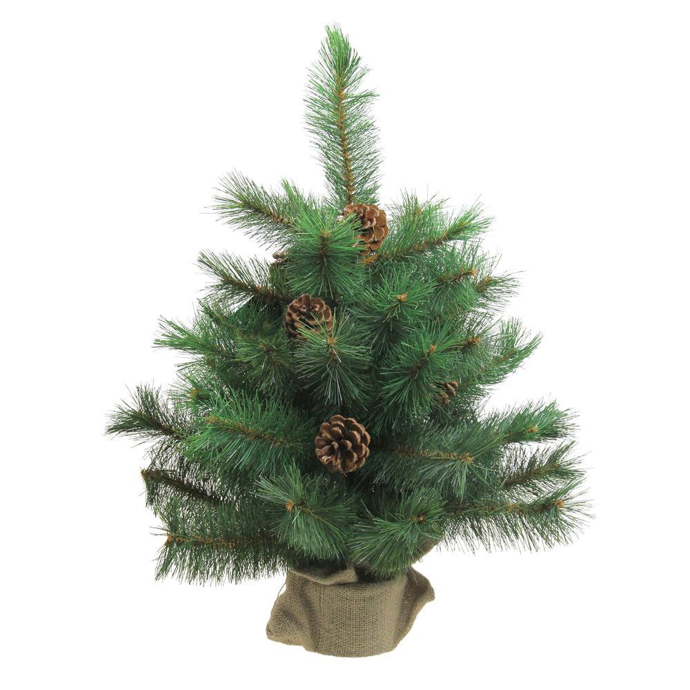 2 ft. Unlit Royal Oregon Pine Artificial Christmas Tree in Burlap Base