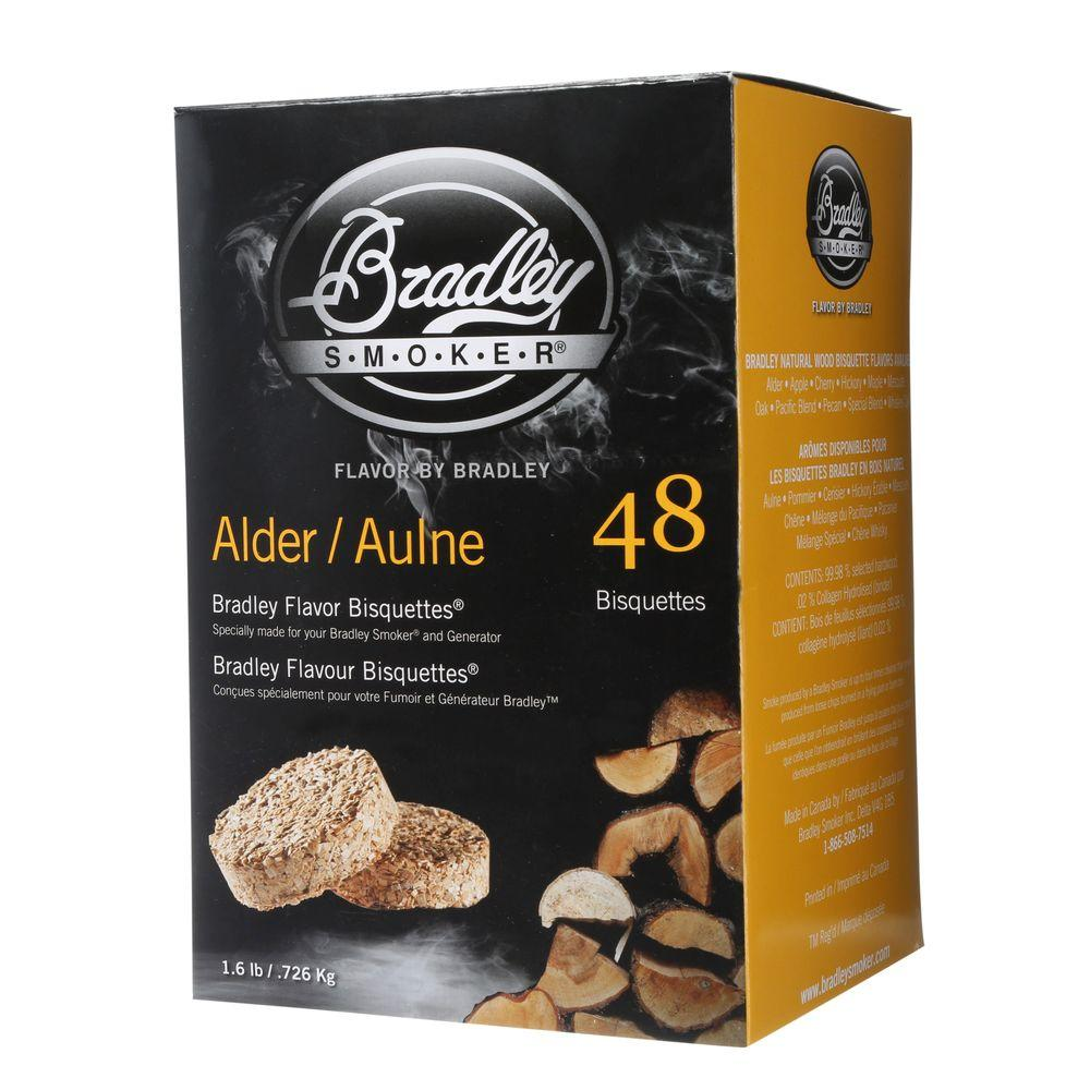 Bradley Smoker Alder Flavor Bisquettes (48-Pack) Traditionally used when grilling seafood, these Bradley Smoker Alder Briquettes (48-Pack) give food a delicious smoky flavor while keeping out tar and resin. The briquettes are made from select alder wood.