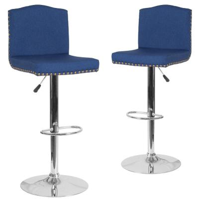32.5 in. Blue Fabric Bar Stool (Set of 2)