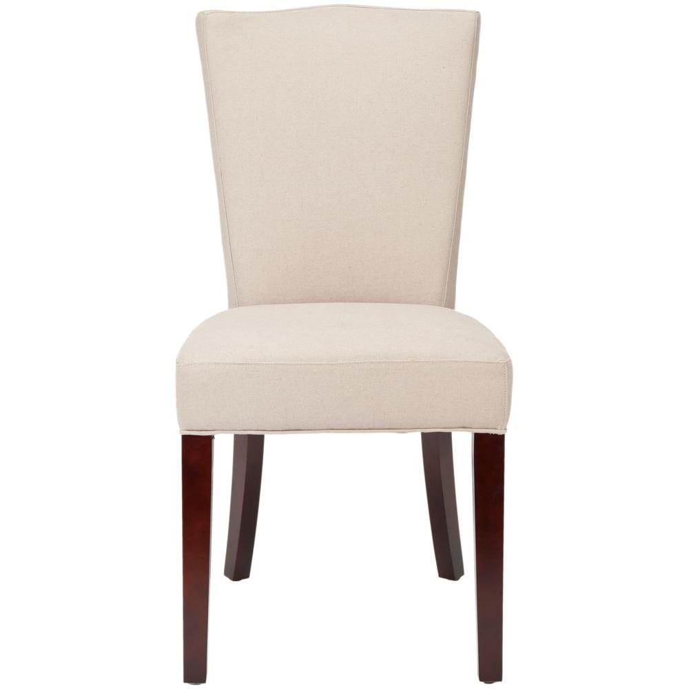Safavieh Colette Taupe Birchwood Linen Side Chair (Set of 2)-DISCONTINUED