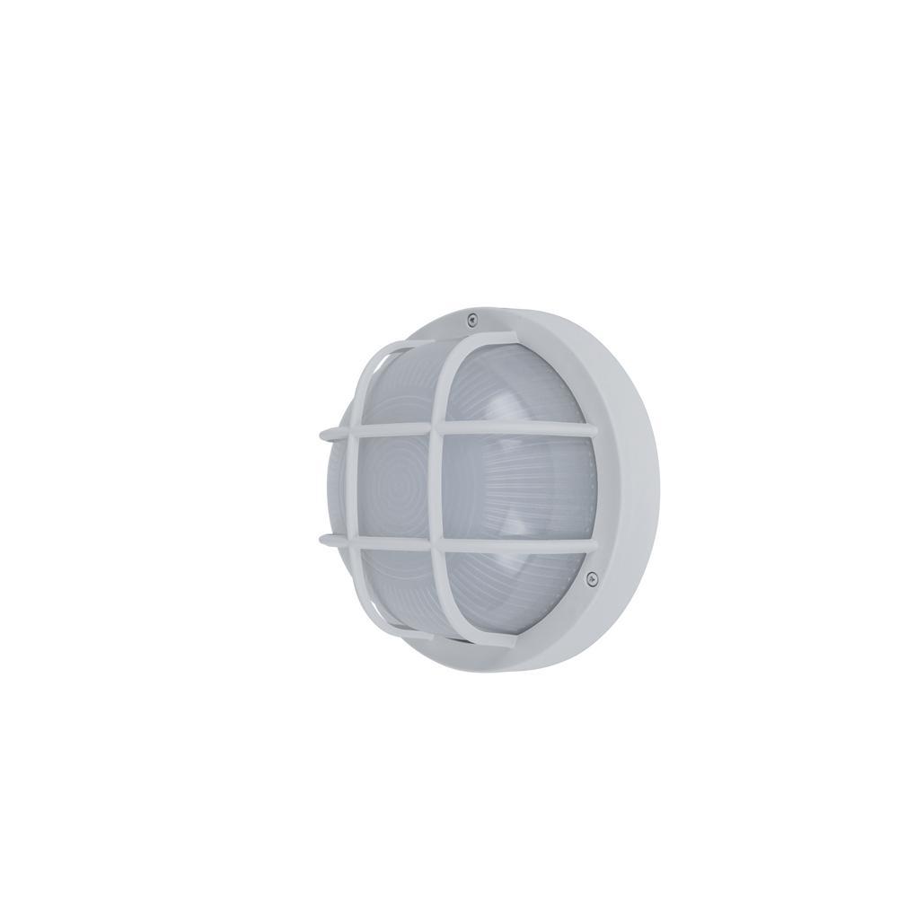 Coastal Norfolk White Outdoor Integrated LED Bulkhead Wall Lantern
