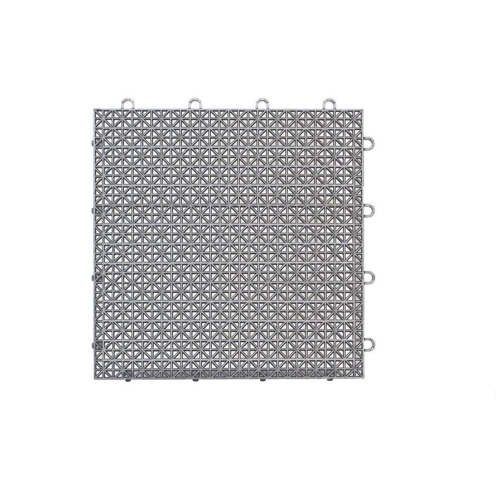 Master Mark Armadillo Tile Polished Chrome 12 in. x 12 in. Polypropylene Interlocking Multipurpose Floor Tile (9-Pack)