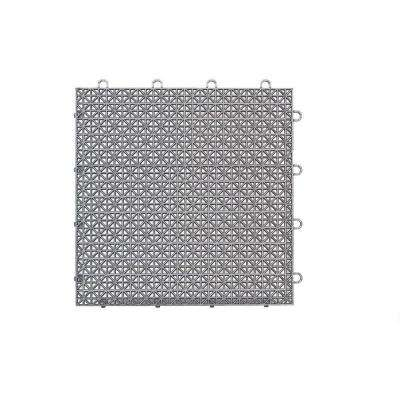 Armadillo Tile Polished Chrome 12 in. x 12 in. Polypropylene Interlocking Multipurpose Floor Tile (9-Pack)