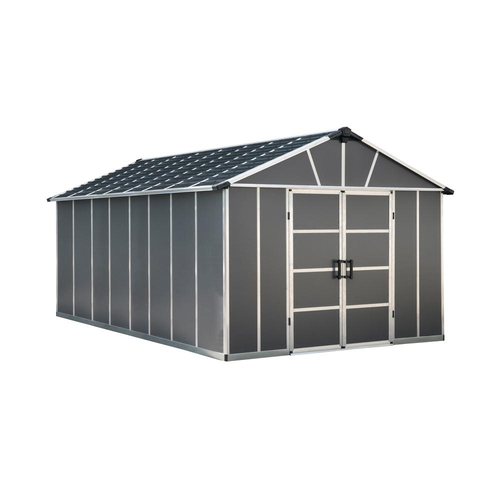 Palram Yukon 11 ft. W x 17.2 ft. D x 8.3 ft. H Dark Gray Storage Shed