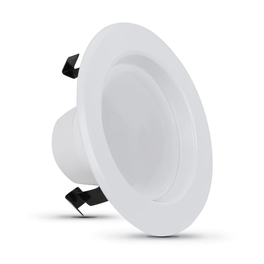 Feit Electric 4 in. 50-Watt Equivalent Soft White Dimmable CEC White Integrated LED Recessed Retrofit Trim Downlight