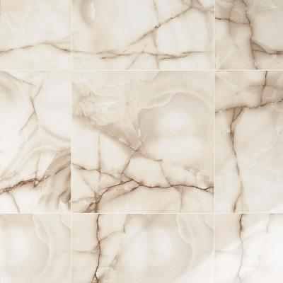 Selene Beige and Cream Onyx 24 in. x 24 in. x 10mm Polished Porcelain Floor & Wall Tile(4 pieces / 15.49 sq. ft. / case)