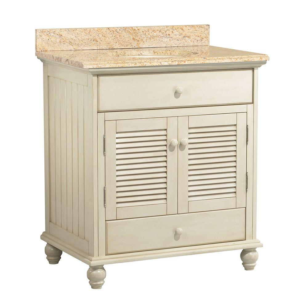 Home Decorators Collection Cottage 31 in. W x 22 in. D Vanity in Antique White with Vanity Top and Stone Effects in Tuscan Sun was $831.0 now $581.7 (30.0% off)