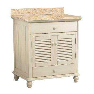 Cottage 31 in. W x 22 in. D Vanity in Antique White with Vanity Top and Stone Effects in Tuscan Sun
