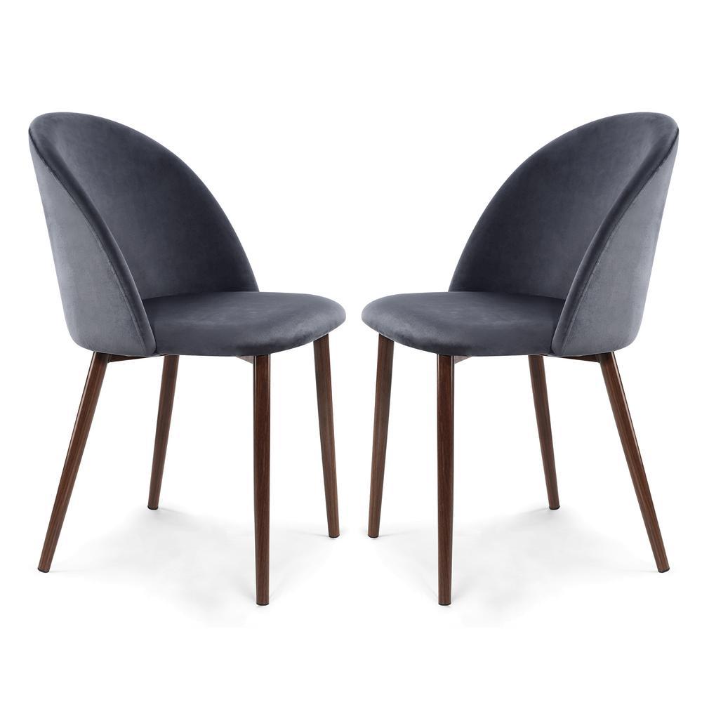 Sedona Cool Charcoal Velvet Dining Chair (Set of 2)