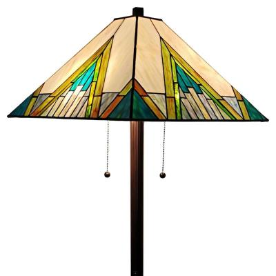 Tiffany 62 in. Green & Tan Standing Floor Lamp with Stained Glass Shade