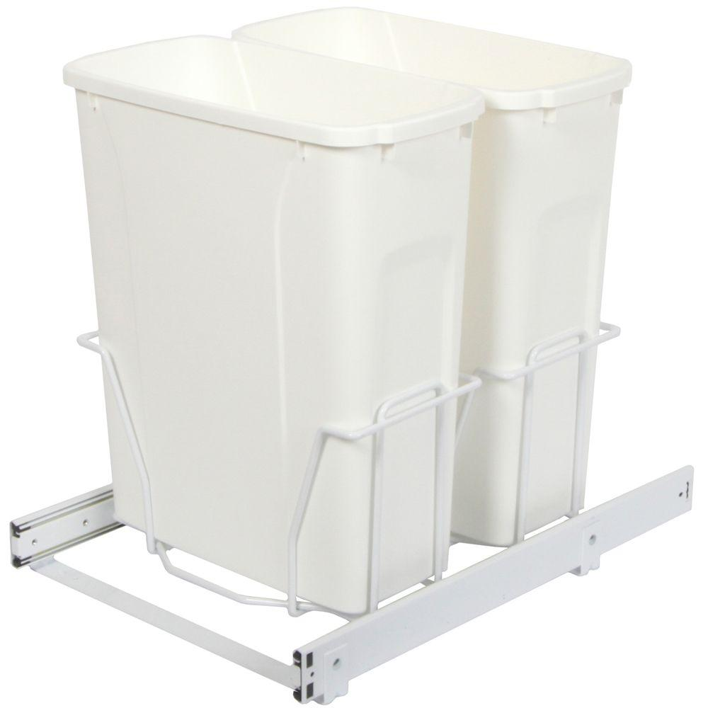 Knape & Vogt 17.31 in. x 14.38 in. x 22.57 in. In Cabinet Pull Out Bottom Mount Trash Can