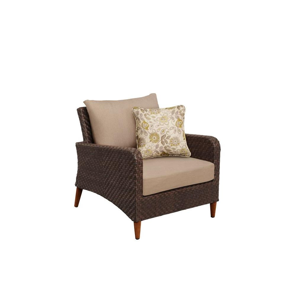 Brown Jordan Marquis Patio Lounge Chair with Sparrow Cushions and Aphrodite Spring Throw Pillow -- CUSTOM